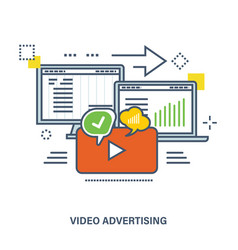 concept of video advertising and marketing vector image