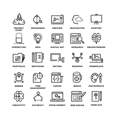 creative process line icons vector image vector image