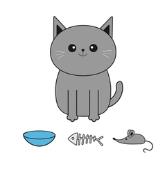 Cute gray cartoon cat mustache whisker bowl fish vector