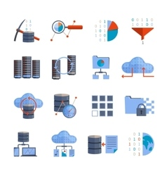 Data Processing Icons vector image vector image