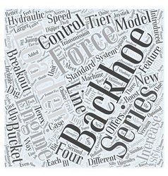 Different types of backhoe loaders word cloud vector