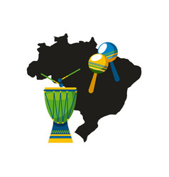 drum instrument of brazil vector image vector image