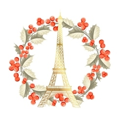 Eiffel tower christmas card vector