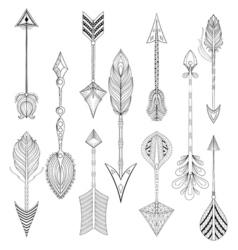 ethnic Arrows set in zentangle designconcept Hand vector image vector image