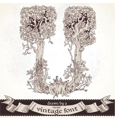 Fable forest hand drawn by a vintage font - u vector