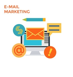 Flat Design E-Mail Marketing vector image