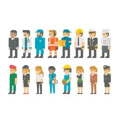 Flat design labor day people set vector image
