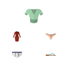 Flat icon clothes set of clothes beach sandal vector