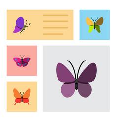 Flat moth set of beauty fly danaus plexippus vector