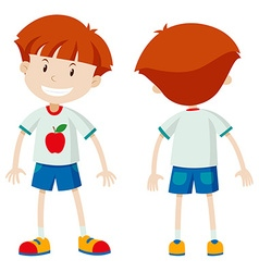 Front and back view of a boy vector image