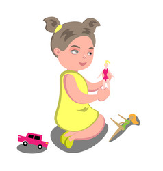 girl playing with a doll vector image
