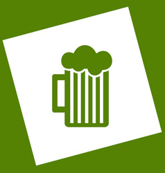 Glass of beer sign white icon obtained as vector