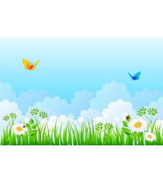 grass back cloud vector image vector image