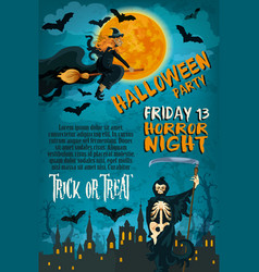 Halloween friday horror party poster vector