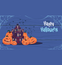 happy halloween gothic castle with ghosts and vector image