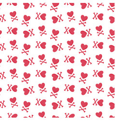 Heart and crossbones seamless pattern vector