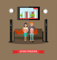 Home theater in flat style vector