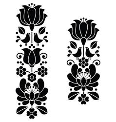 Kalocsai black embroideryHungarian floral pattern vector image vector image