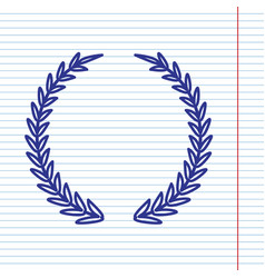 Laurel wreath sign navy line icon on vector