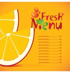 menu and price for fresh juice vector image
