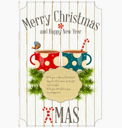 Merry christmas and new year card vector