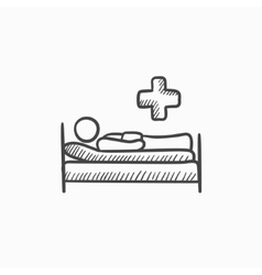 Patient lying on bed sketch icon vector image vector image