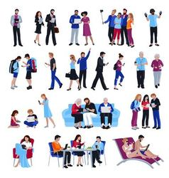 People with gadgets vector