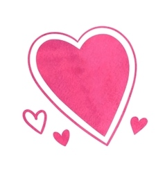 Pink watercolor hearts vector
