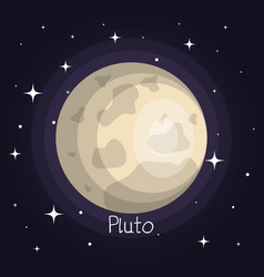 Pluto planet in space with stars shiny cartoon vector