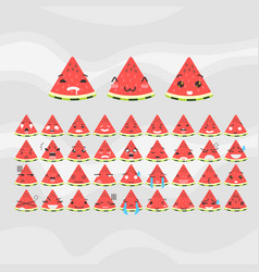 Set of cute fruit smiley watermelon emoticons vector