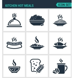 Set of modern icons Kitchen hot meals dish vector image
