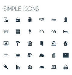 Set of simple property icons elements promotion vector