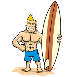 smiling muscle surfer posing with surfboard vector image