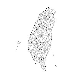 Taiwan map of polygonal mosaic lines network rays vector