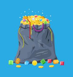 Treasures in bag vector