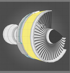 Turbo jet engine aircraft line vector
