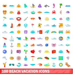 100 beach vacation icons set cartoon style vector