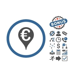 Euro bank map pointer flat icon with bonus vector