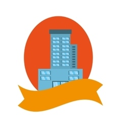 Real estate building emblem ribbon vector