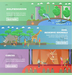 Set of dolphinarium circus and zoo flat vector