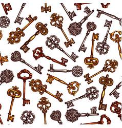 vintage key seamless pattern background vector image