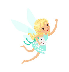 Beautiful sweet blonde tooth fairy girl flying vector
