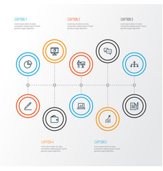 Business outline icons set collection of contract vector