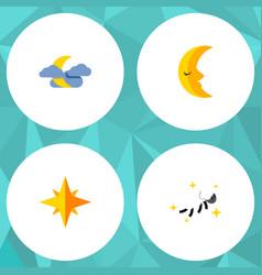 Flat icon midnight set of night asterisk moon vector