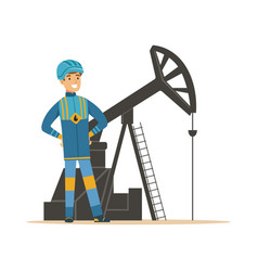 smiling oilman standing next to an oil rig vector image