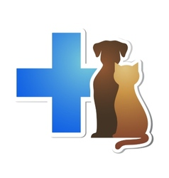Veterinary cross and pets vector