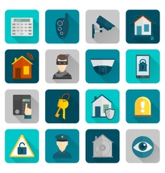 Home security icons flat vector
