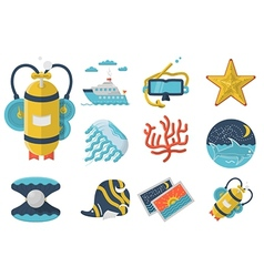 Summertime flat color icons collection vector