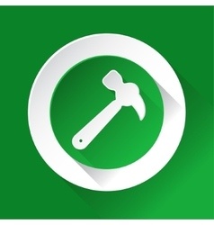 Green circle shiny icon - claw hammer vector