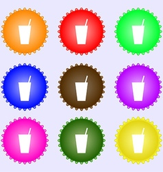 Cocktail icon sign a set of nine different colored vector